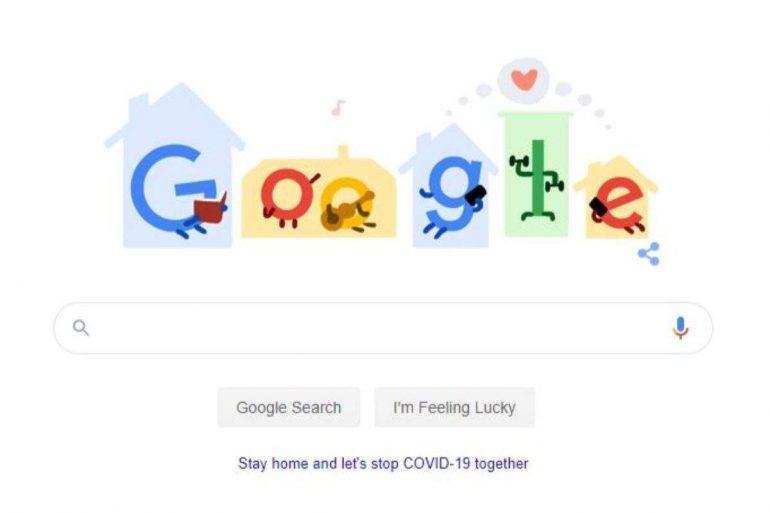 У новому дудлі Google закликали користувачів залишатися вдома, щоб зупинити коронавірус