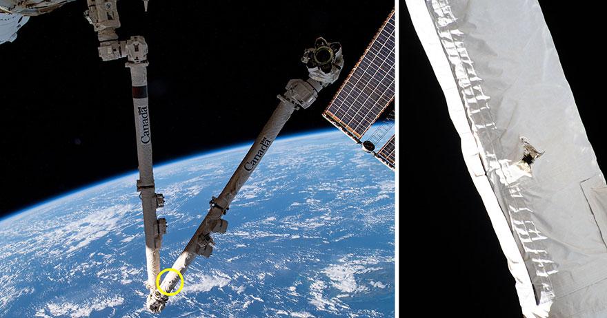 Шматок космічного сміття зробив пробоїну в обшивці МКС